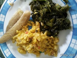 Boiled Green bananas, ackee and cod fish, callaloo